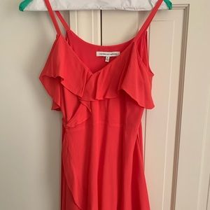 cupcakes and cashmere Coral Ruffle Wrap Dress Sz 0